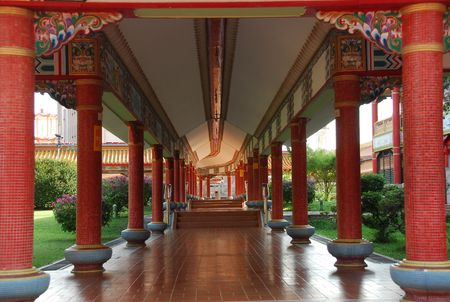 chinese temple corridor in the city Stock Photo