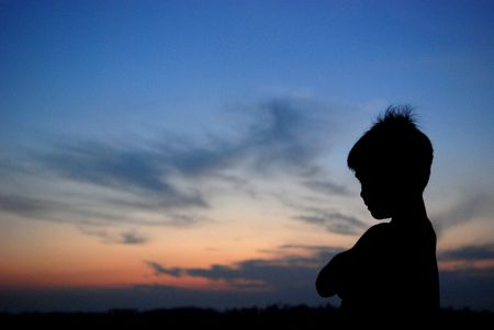 children, pointing, sunset, skies and clouds at the countryside
