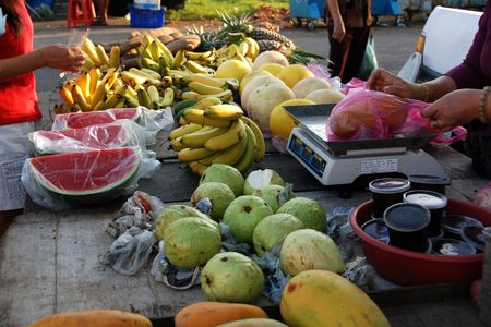 fruits store at the market Stock Photo