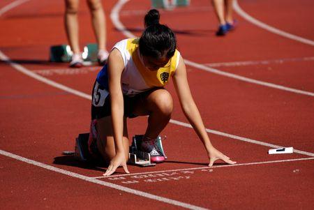 runner bereiden op te lopen Stockfoto