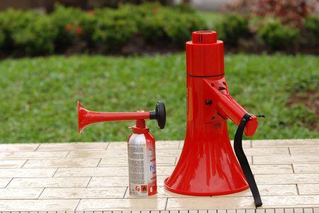 loud speaker: air horn and loud speaker at the swimming