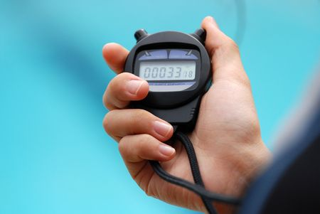 stop watch use during the swimming competition