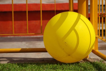 favours: big yellow color balloon on the football field