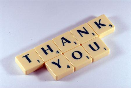 dank u brieven op tafel Stockfoto