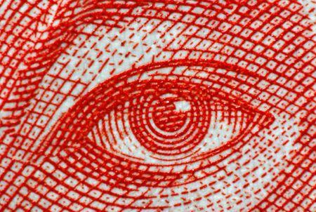 menselijk oog op het papier