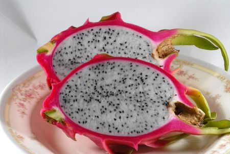 a cut dragon fruits
