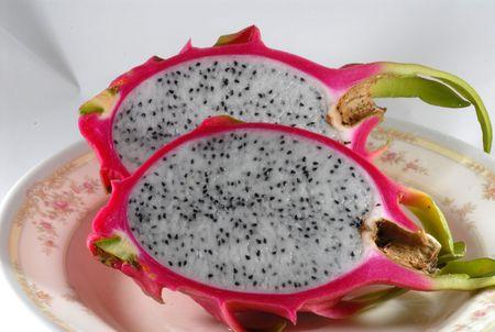a cut dragon fruits