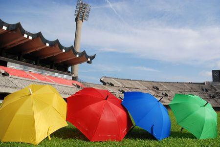 multi colors: multi colors umbrella in the stadium