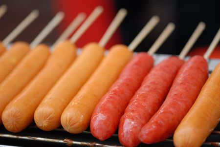 food stuff: sausages selling at the food store  Stock Photo