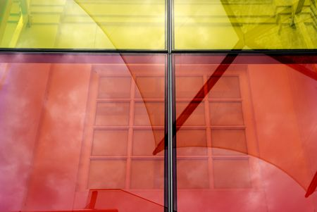 glass panel: colorful glass panel in the city