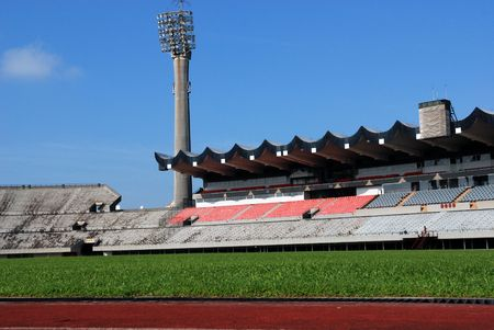Track, field and seat of a stadium  photo