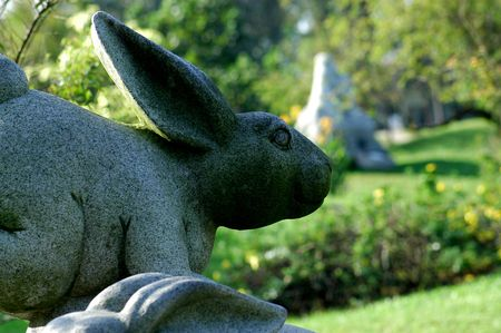 statuary: rabbit statuary in the parks