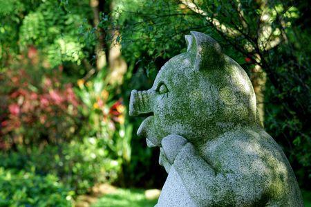 statuary garden: pig statuary in the parks                                  Stock Photo