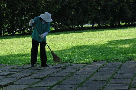 cleaner working in the parks