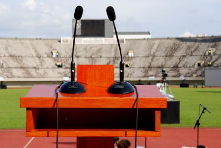 lectern: lectern and microphones on the stage