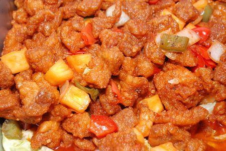 gekookt zure vlees in de pan Stockfoto