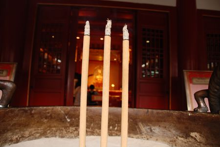 joss: joss stick in the chinese temple Stock Photo
