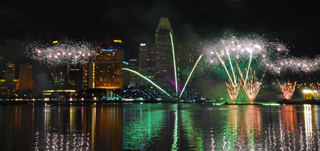 fire work display in the city water front bay