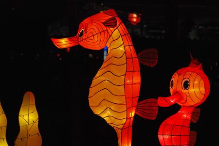 caballo de mar: caballito de mar linterna en el jard�n chino
