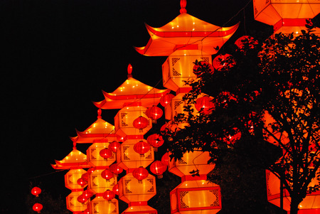 red lanterns in the Chinese gardens  photo