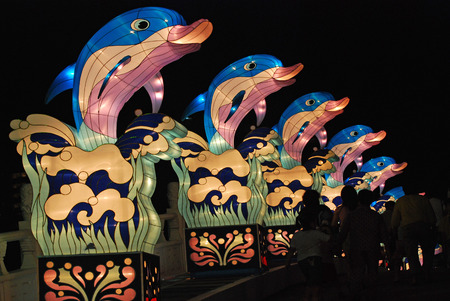 dolphin lantern in the Chinese gardens photo