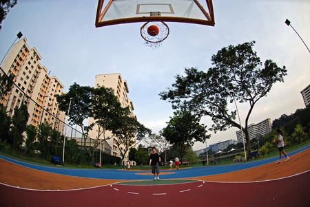 basketball court in the housing estate
