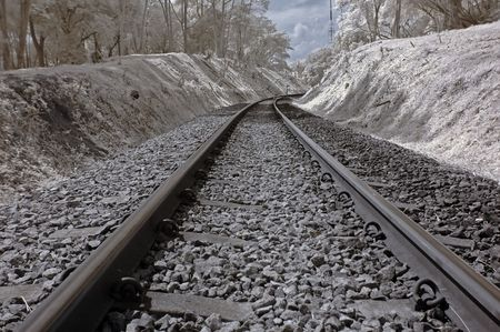 Infrared photo – railway track in the parks  photo