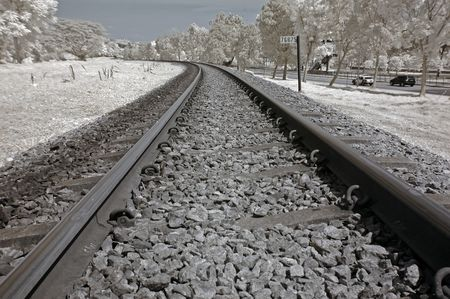 Infrared photo � railway track in the parks  photo