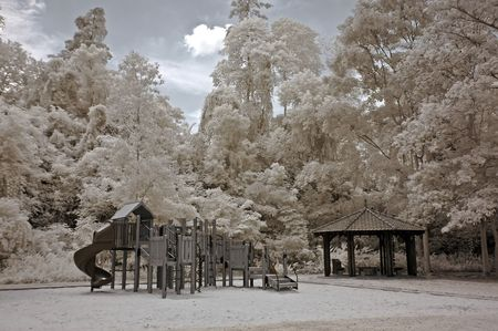 Infrared photo – tree, skies, playground, flower, building in the parks  photo