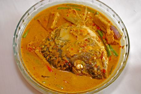 curry fish head on the plate