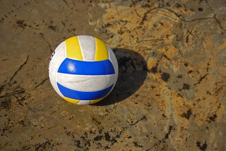sportswoman: colorful ball on the floor Stock Photo