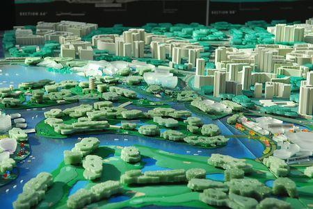 model van de ontwikkeling van de stad Stockfoto