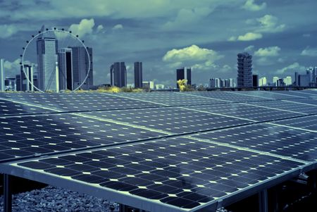 solar energy and cityscape
