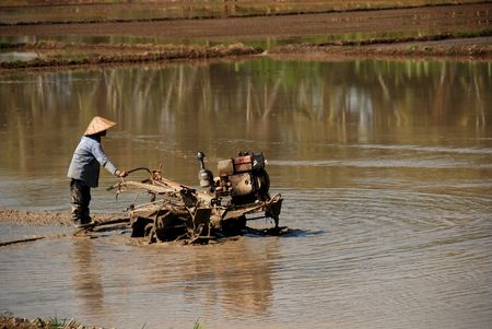 plough machine: paddy field and farmer in the countryside
