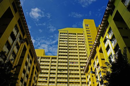 residential housing: colorful residential housing Stock Photo