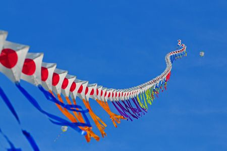 colorful kite fly in the blue sky