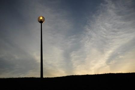 lamp post: Tramonto e lampada post  Archivio Fotografico