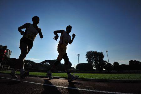 running in the stadium Stock Photo