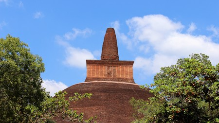 Gigantic  ruins pagoda brick build Stock Photo