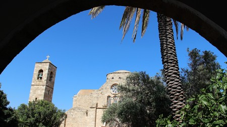 Old Church Bell Tower Arch  Date Palm With Blue sky
