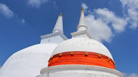 Two Giant White Buddhism Pagoda