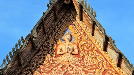 Buddhism Temple Roof With Old Style  Hand made Stucco