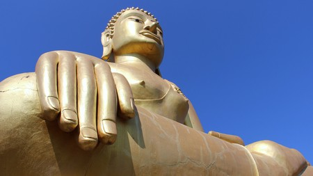 Golden Big Buddha Highest And Happiness Of Buddhist Stock Photo