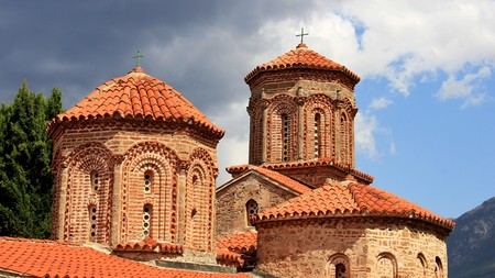 Ancient brick church with orange tiles roof in Ohrid Macedonia