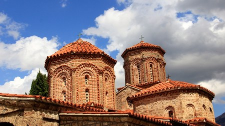 Ancient basilica during summer time with cloudy in Macedonia