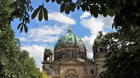 Natural Leaves Farme With Dome Of Berlin Cathedral