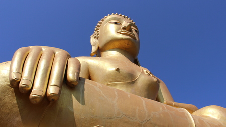 Peace and happiness. one golden big buddha on open space