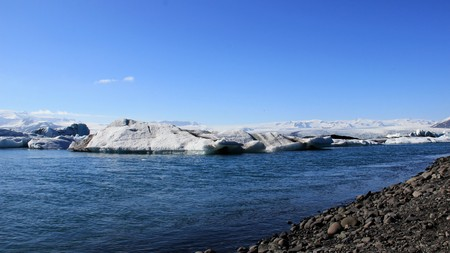 Big Iceberg Floating On Nature Blue Lake In Iceland