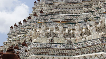 Architecture.coloful of mosaic decorated on wat arun temple traditional of thai art in Bangkok Thailand