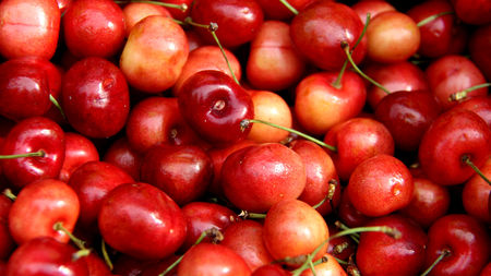 Close Up Fresh Sweet Cherry On Local Market In Austria